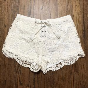 Pants - Crochet lace up shorts